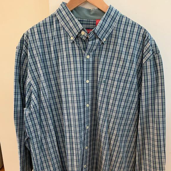 Mens IZOD Dress Shirt Long Sleeve Button Plaid Blue Green Purple L XL 2XL